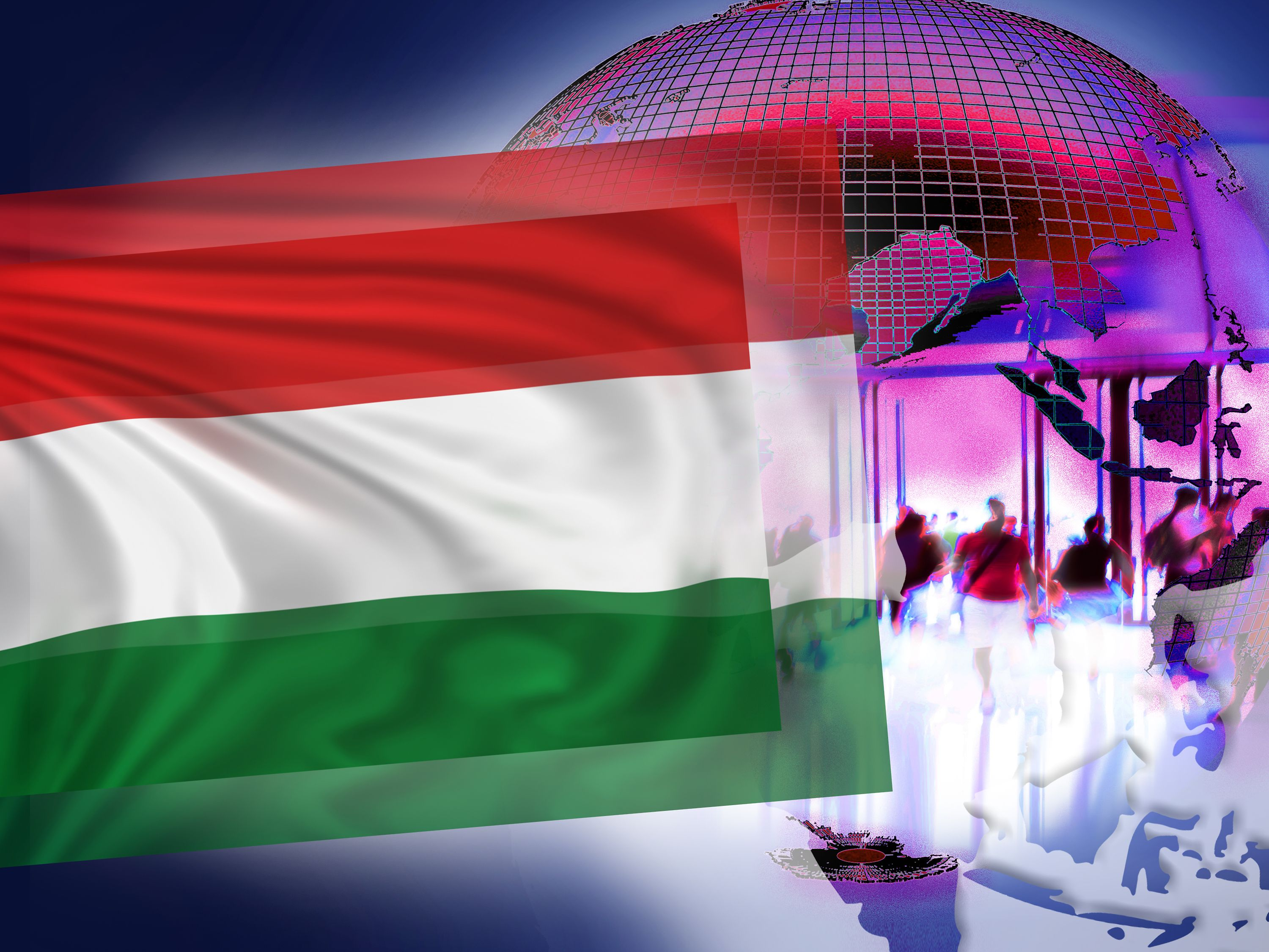 Illustration for NatCo in Hungary with country flag.