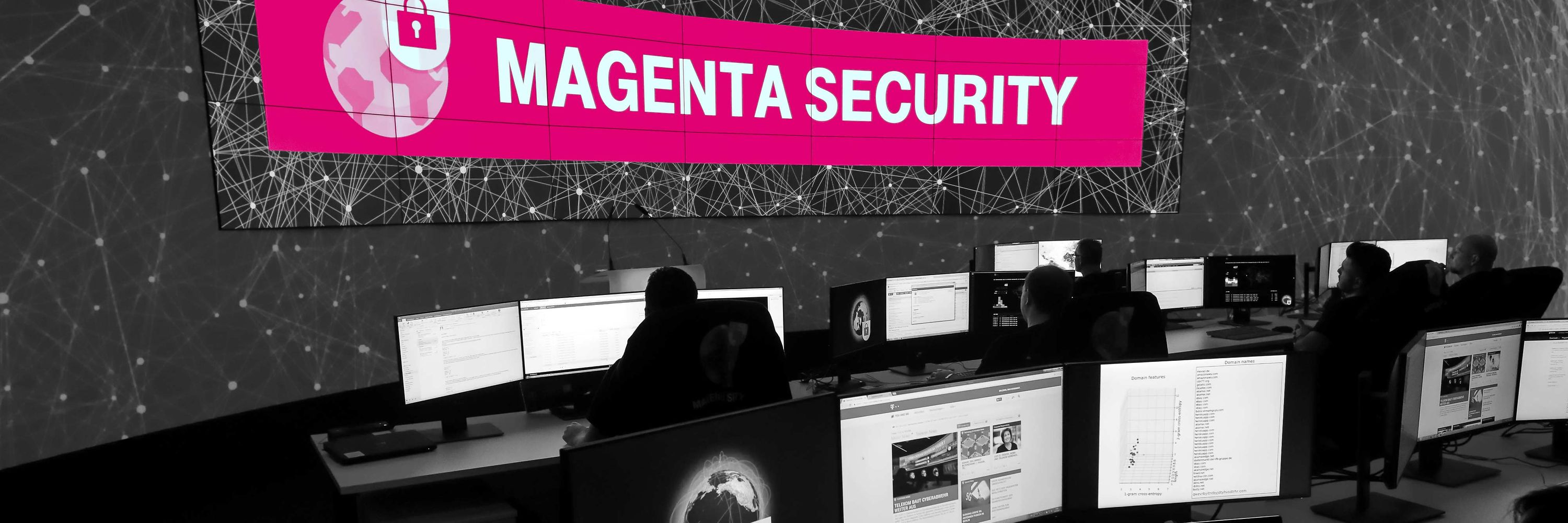 "A dark office with a virtual banner saying ""Magenta Security""."